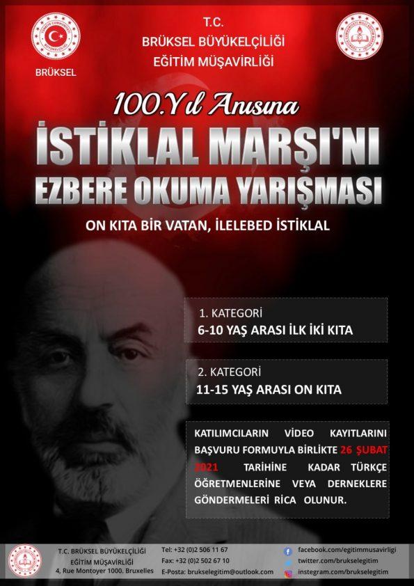 İSTİKLAL MARŞINI EZBERE GÜZEL OKUMA YARIŞMASI na Beringen Türkçe dersi öğrencileri