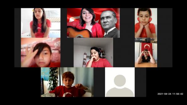 Bruksel Türkçe saati projesi öğrencilerinden online 23 Nisan kutlaması